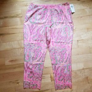 NWT Ralph Lauren 100% silk pink paisley pants